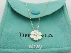 TIFFANY & CO Sterling Silver Crown of Hearts Diamond Pendant Necklace