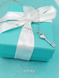 TIFFANY & CO Sterling Silver Heart Key with Diamond Pendant Necklace 16