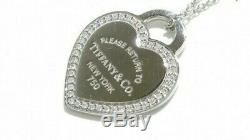 TIFFANY & Co. 18k White Gold / Diamond Return to Heart Necklace withBOX DHL