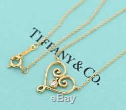 TIFFANY&Co Heart Pendant Necklace Picasso Diamond & 18K Gold withBOX v1311