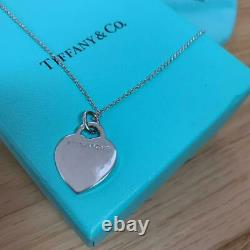 TIFFANY & Co. Return to Heart Necklace 750 White Gold Diamond 15.7 withBOX