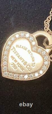 TIFFANY & Co. Return to Heart Necklace Pendant 18k Rose Gold Diamonds withBOX