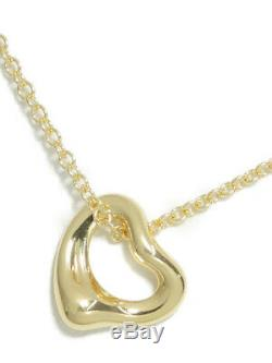 Tiffany & Co. Authentic Mini open Heart 7mm Pendant Necklace 18k Yellow Gold