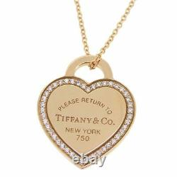 Tiffany & Co. Diamonds Return to Heart Necklace K18YG Gold MINT withBox Poach