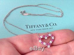 Tiffany co platinum diamond pink sapphire hearts pendant 195 tiffany co platinum diamond pink sapphire hearts pendant 195 inch necklace aloadofball Image collections