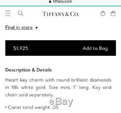 Tiffany & Co. White Gold Diamond Heart Key Pendant Charm Necklace 18 Long