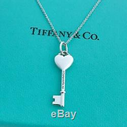 Tiffany & co. Silver Heart Key Pink Sapphire Pendant Necklace 16 WithPouch