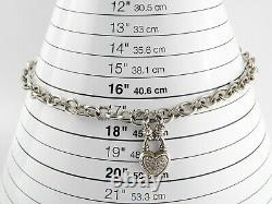 UD Sterling Silver Pave Diamond Heart Pendant Necklace Rolo Chain 925 17 Inches