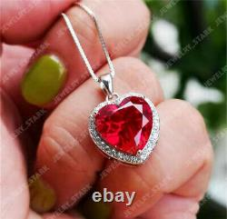 Valentine Gift 3.5Ct Heart Cut Red Ruby Halo Heart Pendant 14K White Gold Finish