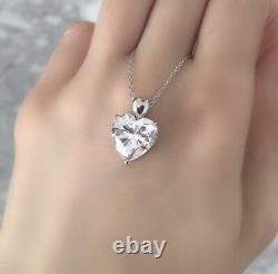 Valentines Day 3CT Solitaire Heart Diamond Pendant With Chain 14k White Gold FN