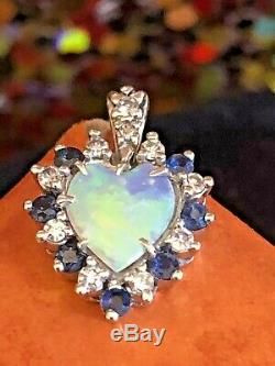 Vintage Estate 14k Gold Natural Opal Heart Diamonds Blue Sapphire Pendant Charm