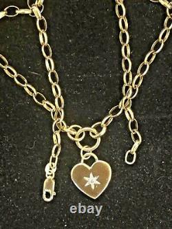 Vintage Estate 14k Gold Necklace Diamond Heart Made In Italy Pendant Signed Aj