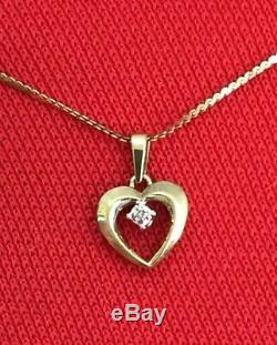 Vtg. 14K Solid Gold and Diamond Open Heart Pendant 16chain Necklace 2.7 Grams