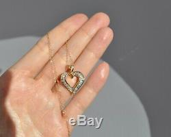 Vtg 14k Solid Gold Natural Diamond Heart Necklace Pendant 19 1/2 Chain