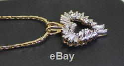 WOW! Estate 14K Gold 1 Ct Baguette & RB Diamond Heart Pendant with 16 Necklace
