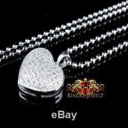 White Gold Silver Ladies Puffed Heart Pave Set Real Diamond Pendant Charm Chain