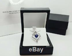 White gold finish sapphire heart pendant and created diamond chain necklace