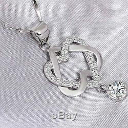 Women Double Heart Pendant Necklace 0.50 Ct Diamond 10K White Gold Fn With Chain