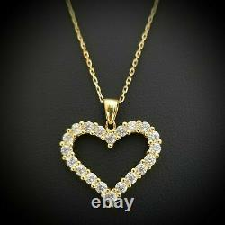Women's14k Yellow Gold Over Sterling Silver Round Diamond Heart Pendant Necklace